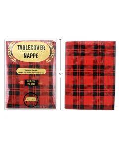 "Christmas Buffalo Plaid Flannel Back Tablecover ~ 60"" Round"