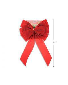 """Christmas Red Velvet Bow - 12 Loops ~ 9.5"""" x 17.5""""L"""