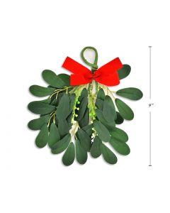 "Christmas 3-Stem Hanging Mistletoe ~ 9"""