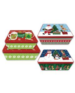Christmas Rectangular Tins ~ Set of 2
