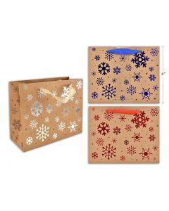 Christmas Medium Gift Bag ~ Kraft with Snowman