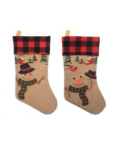 """Christmas Burlap Printed Embroidered Snowman Stocking with Buffalo Plaid Cuff ~ 18""""L"""