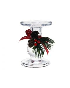 """Christmas Clear Taper/Straight Glass Candle Holder ~ 3-3/8"""" Diameter"""