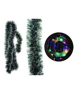 Christmas Snow Tipped Pine Garland w/20 Micro LED Battery Operated Lights ~ 6.5'