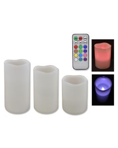 LED 18-Color Changing Scented Wax Candle with Remote ~ 3 per pack