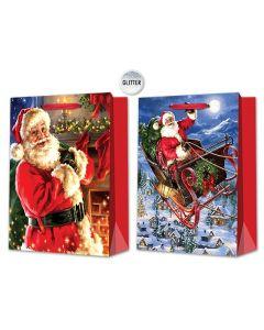 Christmas Jumbo Gift Bag ~ Glitter Santa