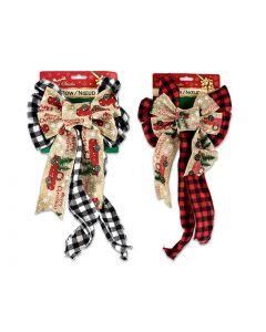 "Christmas Buffalo Plaid & Truck Fabric Bow - 11 Loops ~ 7"" x 15.5""L"