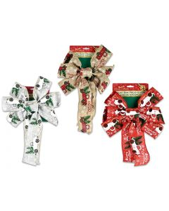 """Christmas Truck Printed Fabric Bow - 7 Loops ~ 10.25"""" x 16""""L"""