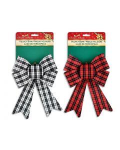 """Christmas Buffalo Plaid Fabric PVC Bow ~ 9-1/3"""" x 13-7/8""""L"""