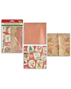 Christmas Kraft Flat Wrap Paper ~ 24sq ft - 6 Sheets