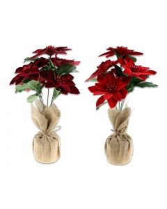 "Christmas Flocked Poinsettia in Burlap Pot ~ 15.75"""