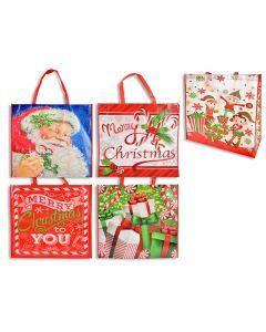 "Christmas Non-Woven Coated Bag ~ 19.5"" x 12.5"" - 7"" Gusset"