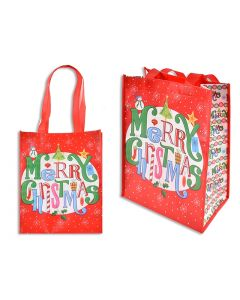 "Christmas Non-Woven Coated Bag ~ 10.5"" x 12.75"" - 5.5"" Gusset"