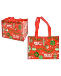 "Christmas Non-Woven Coated Bag ~ 12.75"" x 9.75"" - 9.5"" Gusset"